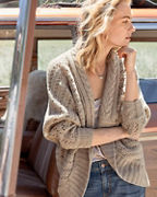 Ribbed-Sleeve Cocoon Cardigan