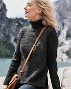 Faux-Layer Turtleneck Sweater