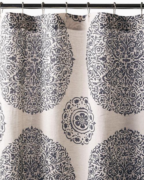 Medallion Linen Shower Curtain