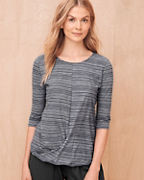Organic-Cotton Twist-Front Three-Quarter-Sleeve Top