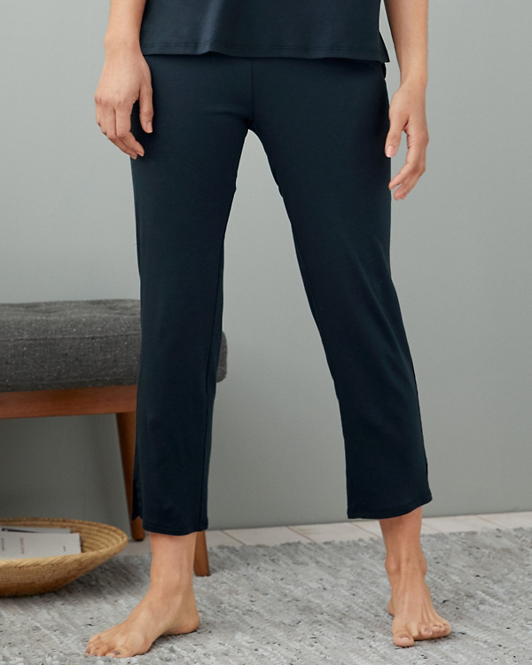 f5b7482b43 EILEEN FISHER Organic-Cotton Cropped Pajama Pants