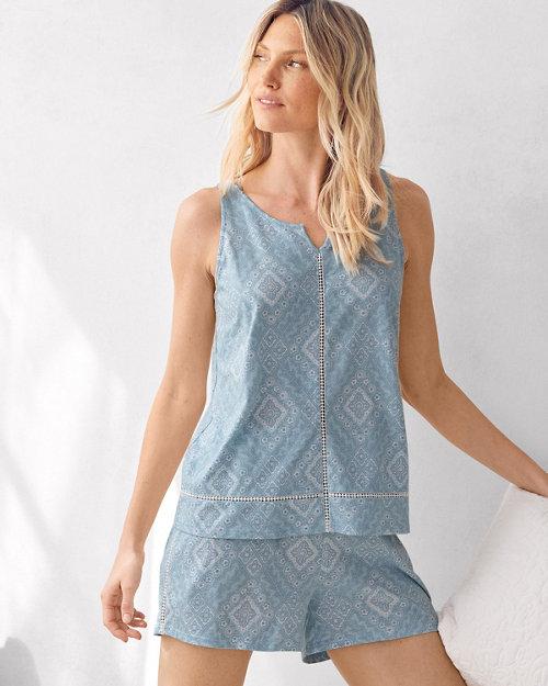 Bohemian Hemstitched Knit Shorty Pajamas 9646d01a3