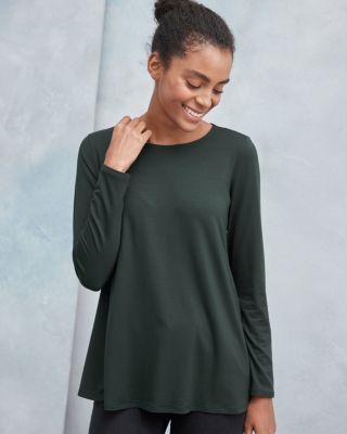 Eileen Fisher Fine Tencel™ Jersey Jewel Neck Top by Garnet Hill