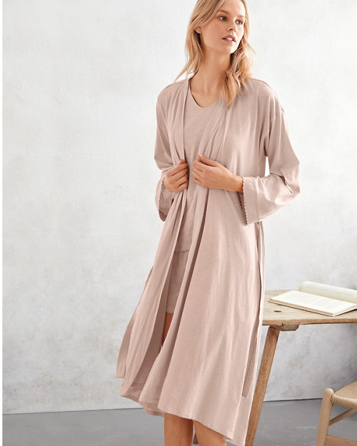 75e4a50926e7 EILEEN FISHER Picot-Trim Knit Robe
