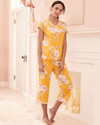 Asian Wrap Organic-Cotton Short-Sleeve Cropped Pajamas