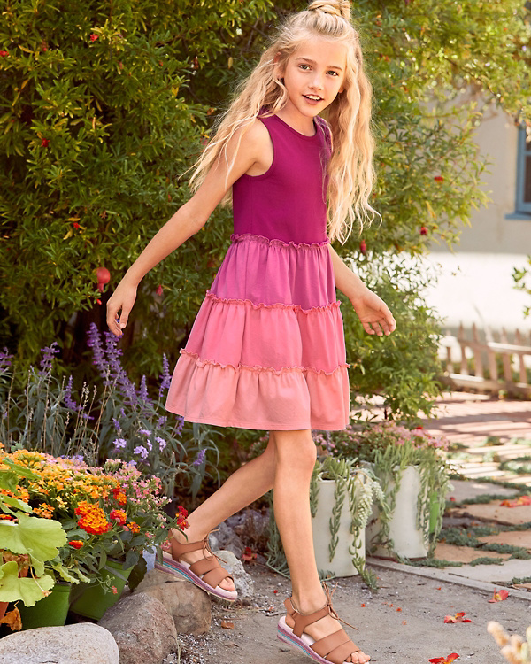 d54eff7ea26970 Girls  Organic-Cotton Tiered Tank Dress