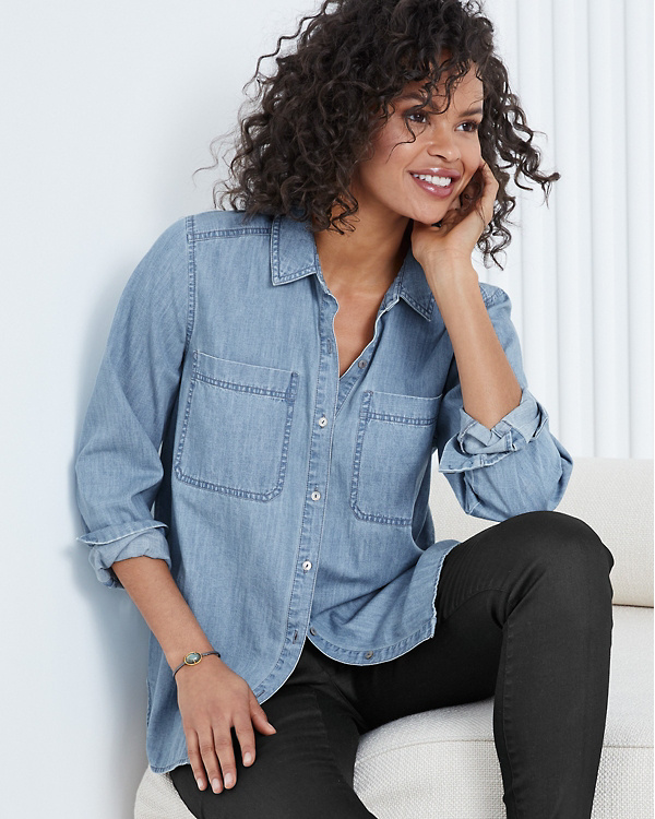c10b774f4b EILEEN FISHER Organic-Cotton Denim Shirt - Regular