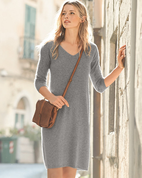Cashmere Pointelle-Sleeve Sweater Dress 1faf7a471
