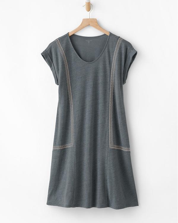 9aa6cc9e817d Organic-Linen Embroidered Knit Dress | Garnet Hill