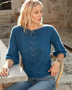 Cashmere Bishop-Sleeve Pointelle Sweater