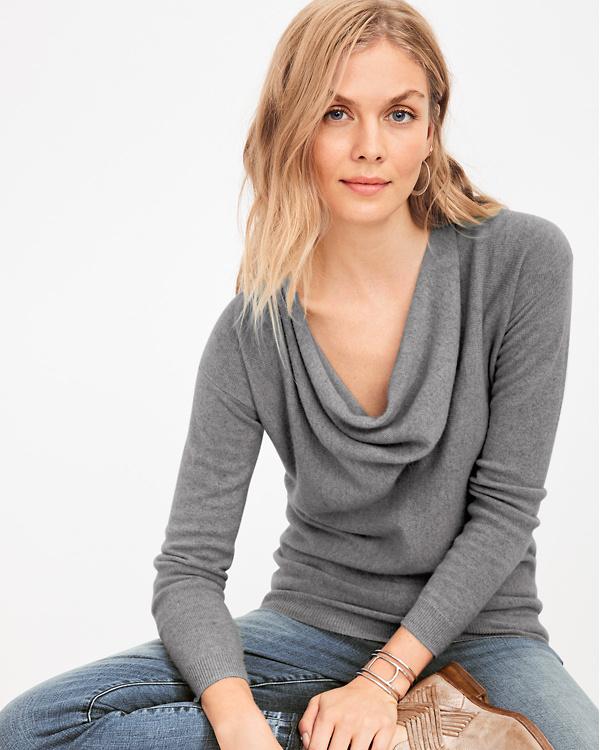 Cowl Neckline: Cashmere Cowl-Neck Sweater