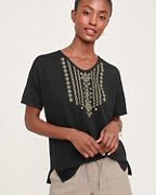Organic-Linen Embroidered V-Neck Tee