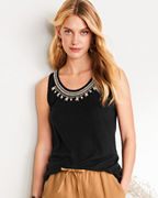 Embroidered Linen & Modal Tank