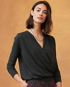 Blouson Surplice Knit Top