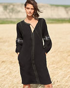 Lilla P Embroidered Gauze Long-Sleeve Dress
