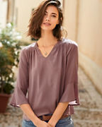 Smocked Silk Blouse