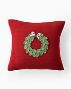 Holiday Knit Mini Wreath Pillow