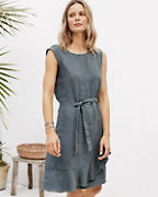 Linen Ruffled Wrap Dress