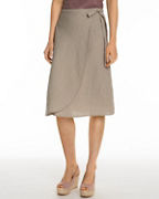 Linen Wrap-Detail Skirt