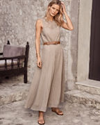 Lace-Yoke Gauze Maxi Dress