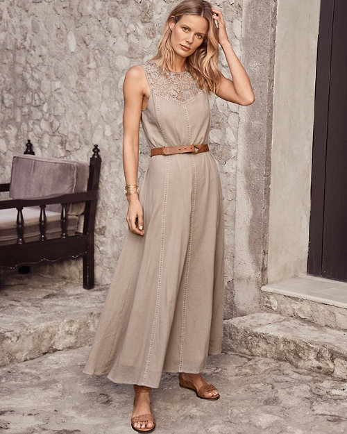 d50478aa8 Lace-Yoke Gauze Maxi Dress