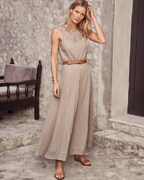 e3a9ab708163 Lace-Yoke Gauze Maxi Dress   Garnet Hill