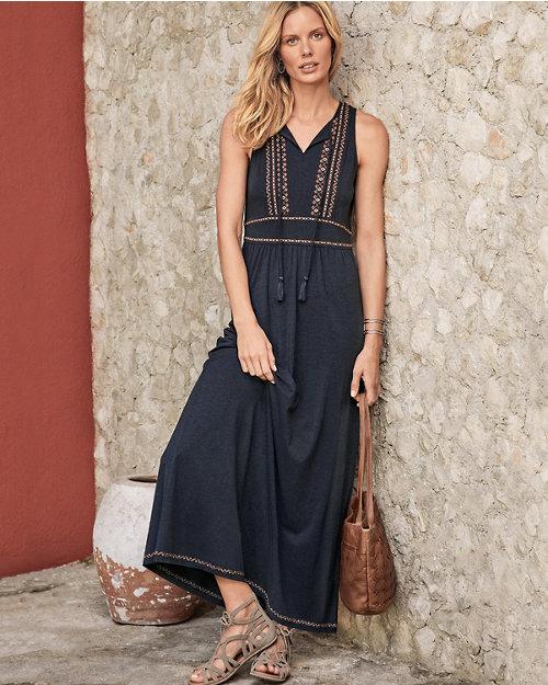 5faef01eb5 Embroidered-Bodice Knit Maxi Dress