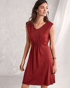 Smocked-Bodice Cap-Sleeve Dress