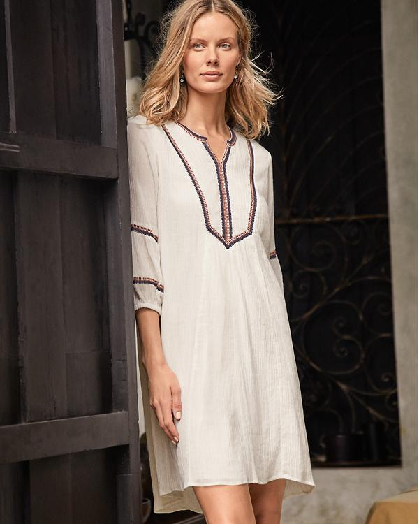 a97607c0d8977 Embroidered Lantern-Sleeve Dress   Garnet Hill