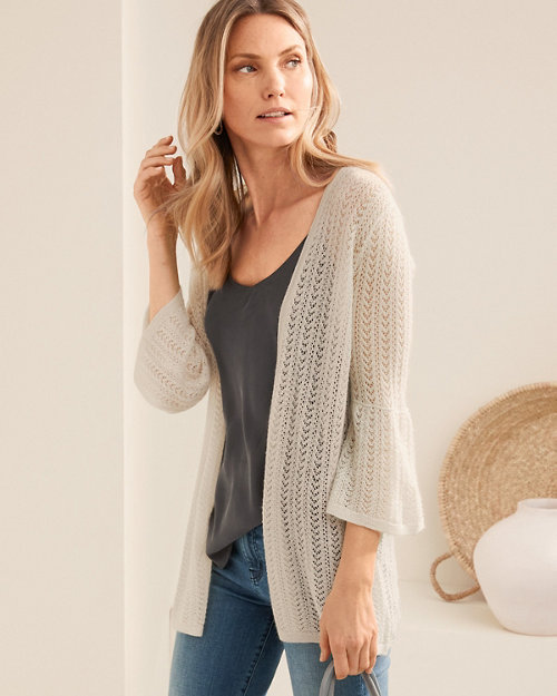 69962568ac3 Featherweight Cashmere Pointelle Open Cardigan