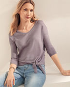 Featherweight Cashmere Tie-Front Sweater
