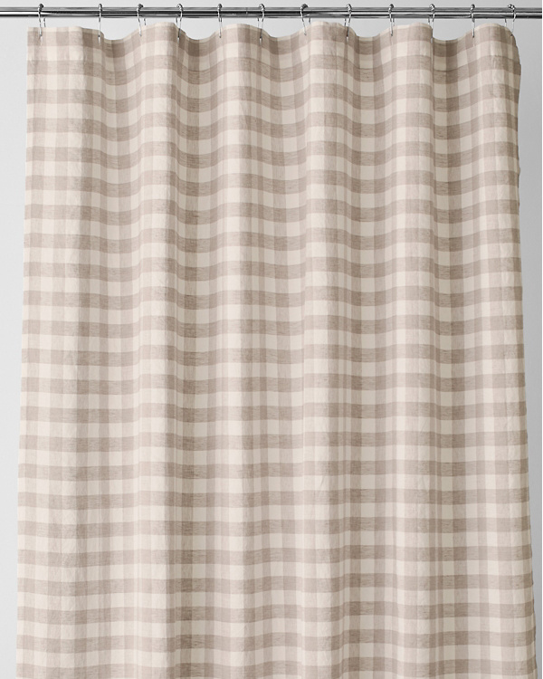 EILEEN FISHER Buffalo Check Washed Linen Shower Curtain