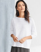EILEEN FISHER Organic-Linen Rib-Detail Pullover