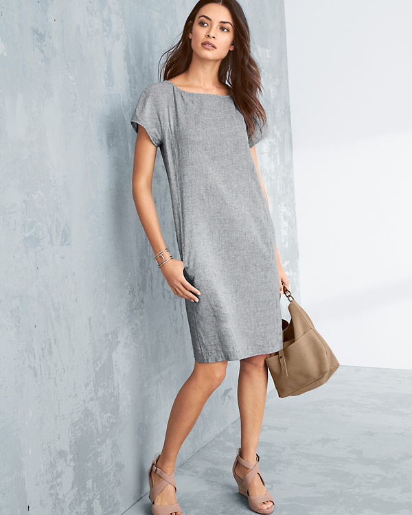 7d6b5dcfaf1 EILEEN FISHER Hemp   Organic Cotton Shift Dress - Petite