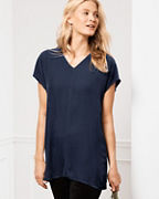 EILEEN FISHER Velvet V-Neck Short-Sleeve Tunic