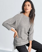 EILEEN FISHER Organic-Cotton-Terry Three-Quarter-Sleeve Top