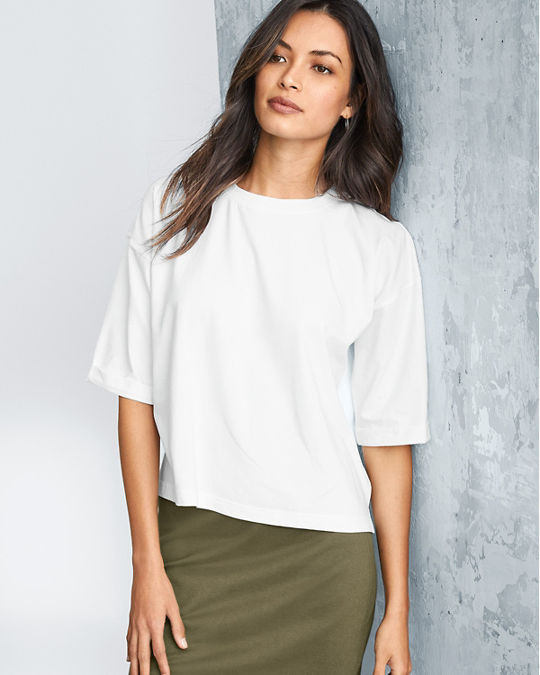 7798f62490 EILEEN FISHER Organic-Cotton Stretch Cropped Tee