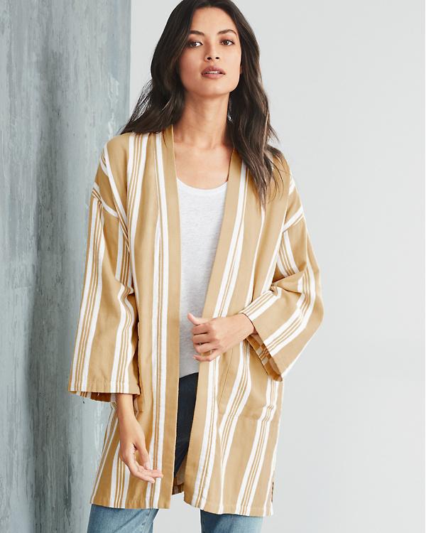 33c7bc648 EILEEN FISHER Striped Organic-Cotton Long Kimono Jacket