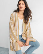 EILEEN FISHER Striped Organic-Cotton Long Kimono Jacket
