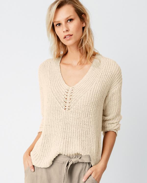 8bbaba0650380f EILEEN FISHER Organic-Cotton & Linen Tape-Yarn Sweater | Garnet Hill