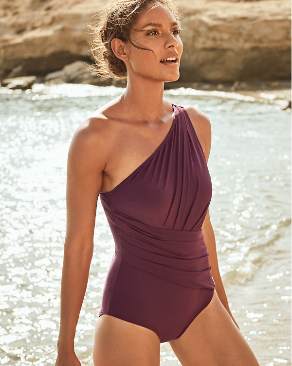 a3b6d1422898a Michael Kors Urban Gypsy One-Shoulder One-Piece Swimsuit | Garnet Hill