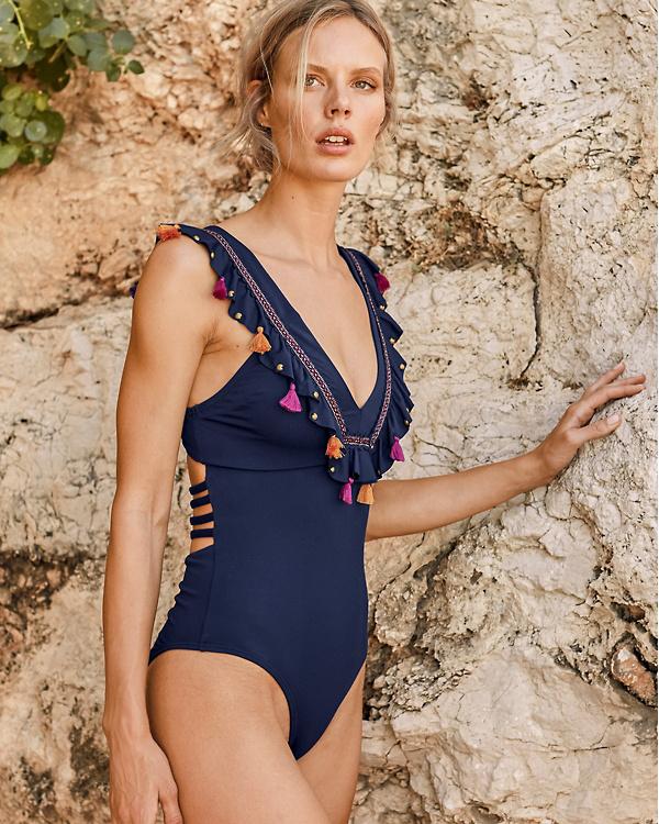 6cb4eda874 OndadeMar Embellished-Ruffle One-Piece Swimsuit