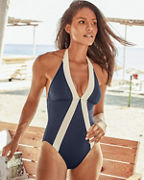 Vince Camuto Sun-Block Halter One-Piece Swimsuit