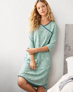 Asian Wrap Organic-Cotton Three-Quarter-Sleeve Gown