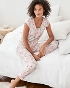 Lace-Trimmed Organic-Cotton Cropped Pajamas