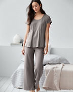 EILEEN FISHER Organic-Cotton Pleat-Detail Cap-Sleeve Pajamas