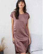EILEEN FISHER Textured-Silk Cap-Sleeve Gown