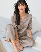EILEEN FISHER Textured-Silk Classic Pajamas