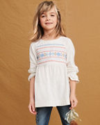 Girls' Ruffle-Sleeve Embroidered Tunic