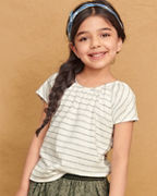 Girls' Organic-Cotton Gathered-Neck Tee